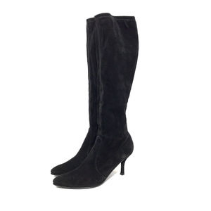 Stuart Weitzman Black Stretch Suede Knee High Boot